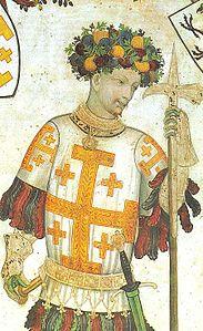 Godfrey_of_Bouillon,_holding_a_pollaxe._(Manta_Castle,_Cuneo,_Italy