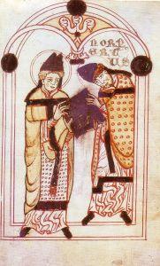 6 giugno Sant'Agostino presenta a 6 giugno Norberto la sua regola, miniatura, 1140