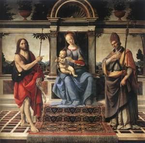 22 ott Andrea_del_Verrocchio_-_Madonna_with_Sts_John_the_Baptist_and_Donatus_-_WGA24995