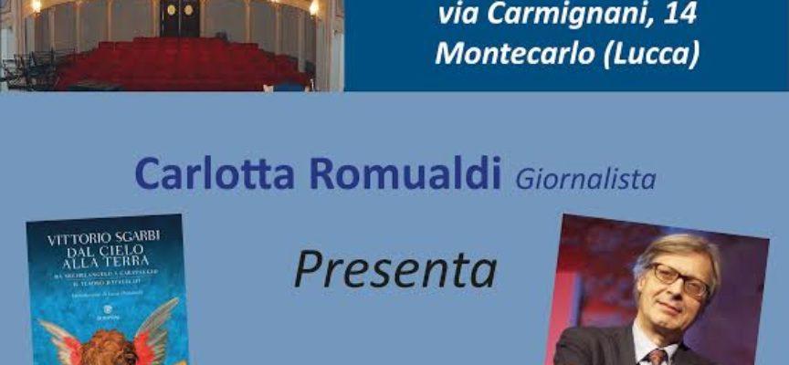 Vittorio Sgarbi a Montecarlo al Teatro dei Rassicurati tra Michelangelo e Caravaggio, la risposta con la storia dell'arte alle atrocità di questi giorni.