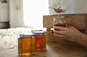 Hand of female beekeeper in kitchen bottling up filtered honey from beehive