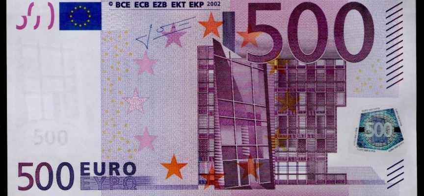 banconota da 500 euro eliminata dal 2018