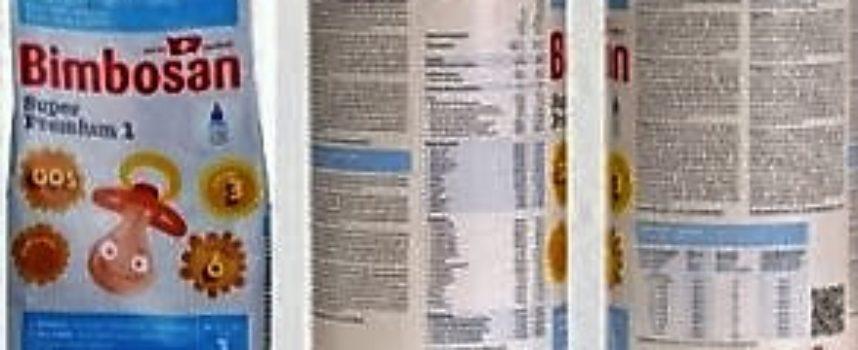 """Ritirato dal mercato il Bimbosan """"Super Premium 1, IL LATTE PER I BEBE'"""