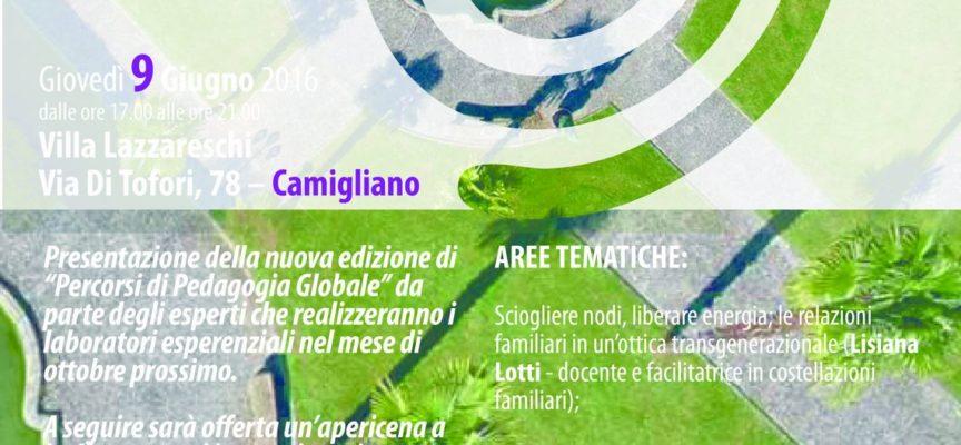 CAPANNORI – 'NUOVE CONSAPEVOLEZZE': GIOVEDI' 9 GIUGNO A VILLA LAZZARESCHI L'ANTEPRIMA DEI PERCORSI DI PEDAGOGIA GLOBALE 2016-2017