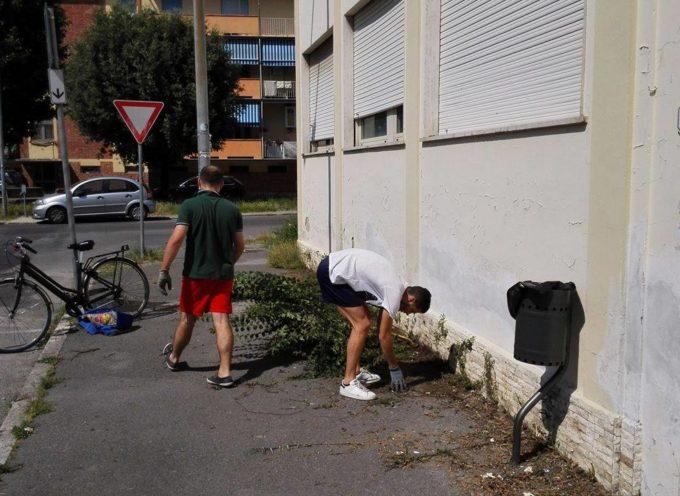 LUCCA – San Vito: residenti e CasaPound tagliano l'erba ripulendo l'area dell'ex distretto socio-sanitario di via Giorgini.