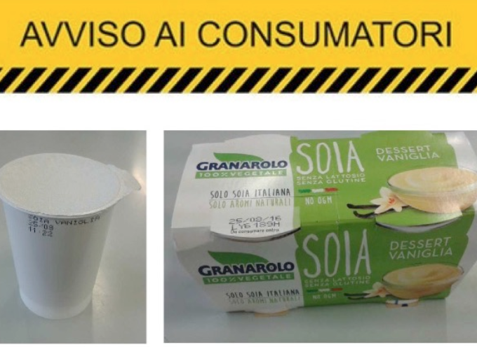 Granarolo ritira dessert di soia alla vaniglia per mancata indicazione del latte in etichetta.