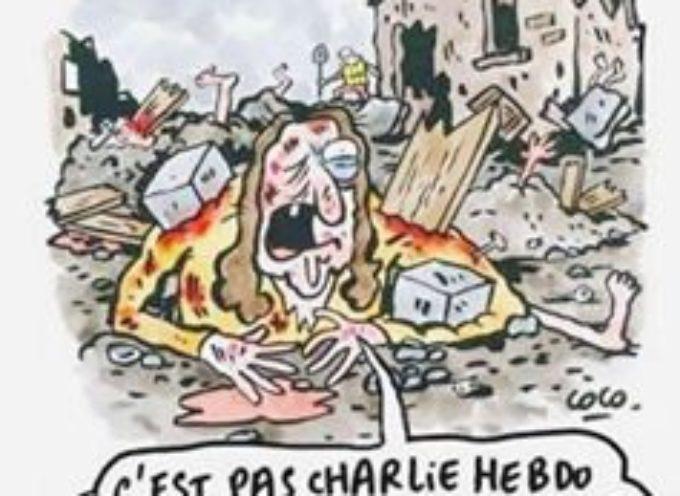 Charlie Hebdo, vignette su terremoto in Italia: persone sepolte come strati di lasagne.
