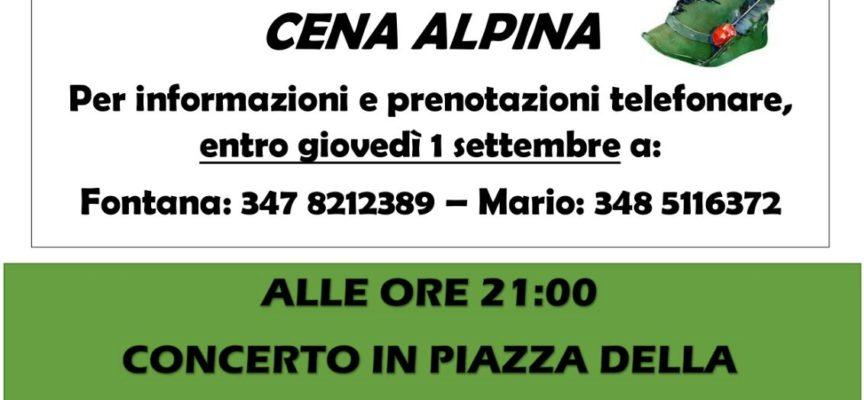 Cena Alpina con concerto a Cascio questa sera venerdì 2 Settembre a favore di Amatrice