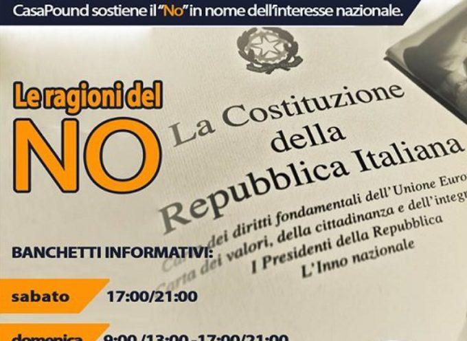 """Referendum. Gazebo di CasaPound: """"Chi ama l'Italia vota NO"""""""