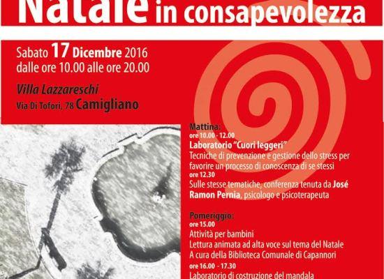 CAPANNORI – 'PERCORSI DI PEDAGOGIA GLOBALE':  17 DICEMBRE A VILLA LAZZARESCHI L'INIZIATIVA 'NATALE IN CONSAPEVOLEZZA'