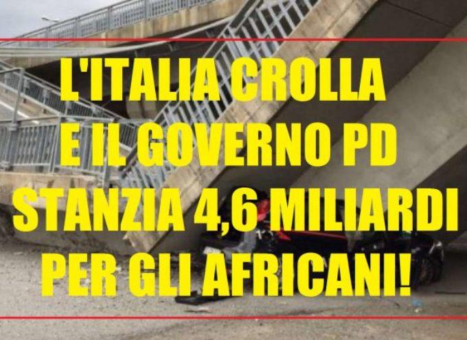 ITALIA CROLLA A PEZZI? MOTIVO VALIDO PER STANZIARE 5 MILIARDI PER I MIGRANTI!