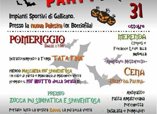 """Gallicano Halloween Party"". per martedi 31 ottobre"
