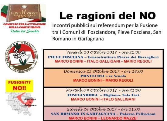 Iniziative per il NO al referendum sulla Fusione dei Comuni