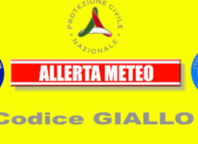 ALLERTA METEO CODICE GIALLO FINO ALLA MEZZANOTTE DEL 25 NOVEMBRE PER TEMPORALI E VENTO FORTE