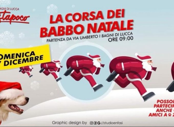LA CORSA dei Babbo Natale  a  Bagni di Lucca
