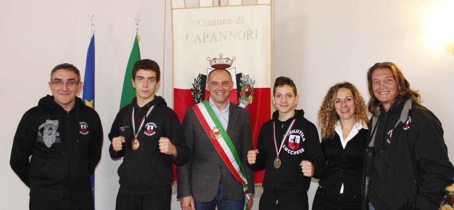 RICEVUTI IN COMUNE I DUE CAMPIONCINI DI PUGILATO LORENZO FRUGOLI E LORENZO GAROFANO
