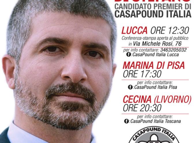 Simone Di Stefano a Lucca per annunciare le candidature a Camera e Senato di CasaPound Italia.