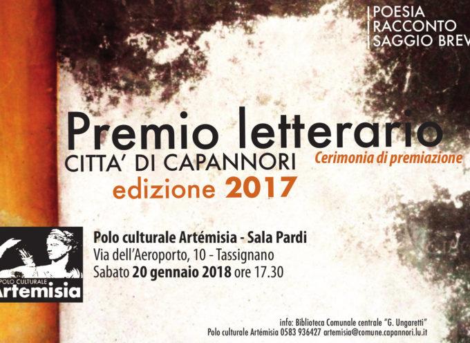 """PREMIO LETTERARIO """"CITTA' DI CAPANNORI"""", DOMANI (SABATO)  AD ARTEMISIA LA CERIMONIA DI PREMIAZIONE"""