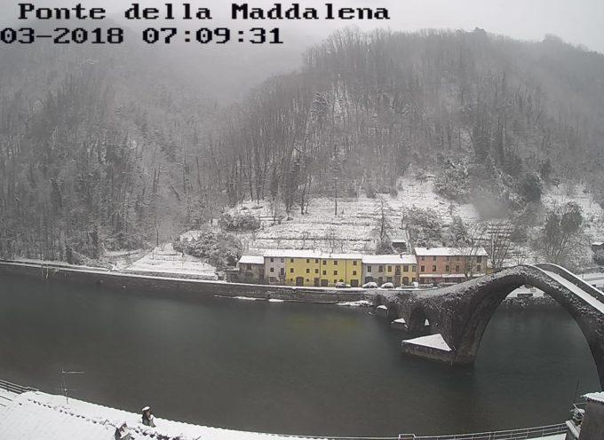 un'immagine di poco fa della zona della statale del Brennero all'altezza del Ponte del Diavolo a Borgo a Mozzano