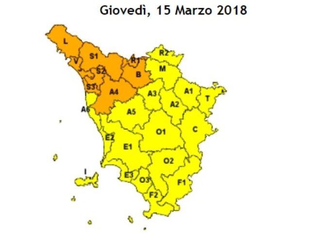 EMESSA ALLERTA METEO ARANCIO DA DOMANI POMERIGGIO  (GIOVEDI' 15 MARZO) A VENERDI' MATTINA