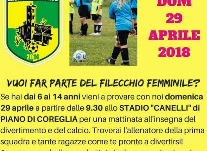 Calcio femminile Filecchio,se vuoi vieni al Campo sportivo di Piano di Coreglia