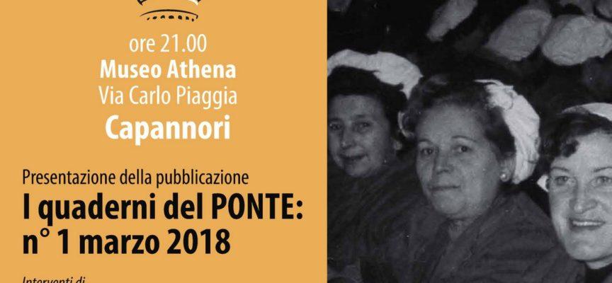 AD ATHENA LA PRESENTAZIONE DELLA PUBBLICAZIONE  'I QUADERNI DEL PONTE: N°1 MARZO 2018'