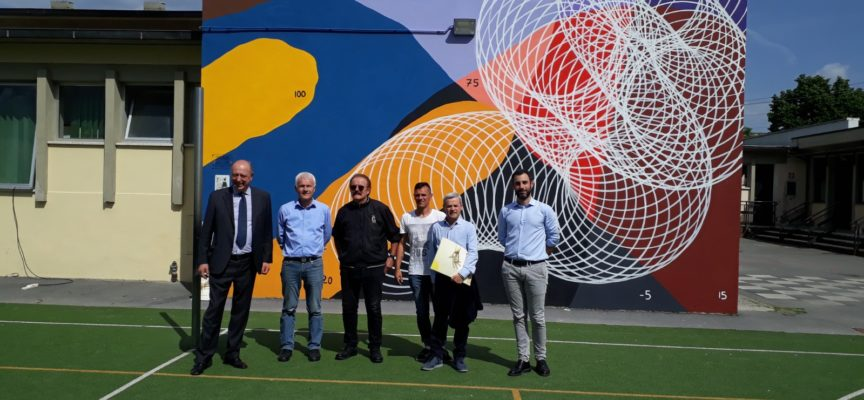 """Si intitola """"Lucca01"""" l'opera muraria di Moneyless inaugurata, questo pomeriggio alla scuola Donatelli di San Vito"""