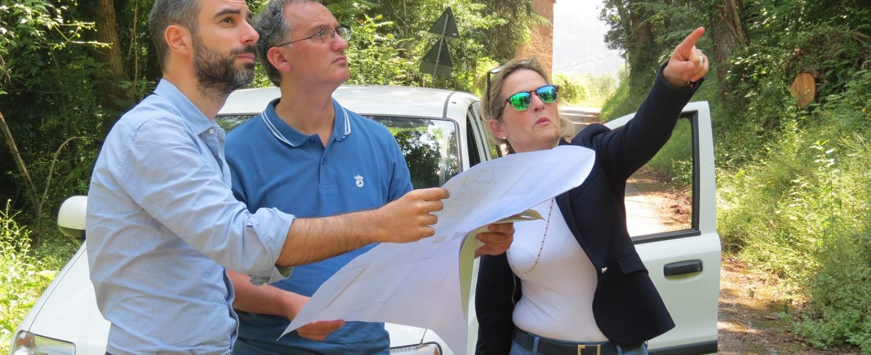 Frana di Chiatri: sopralluogo dell'assessore Raspini e dei tecnici comunali