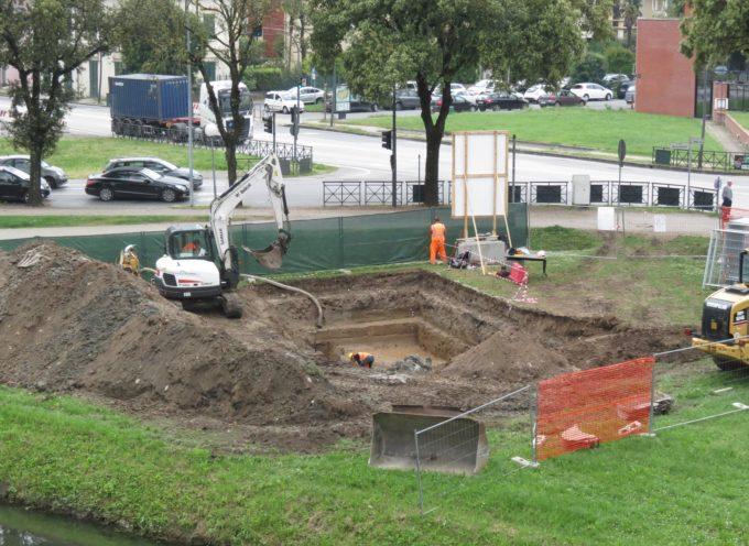 Terminato lo scavo archeologico sugli spalti di piazzale Boccherini: