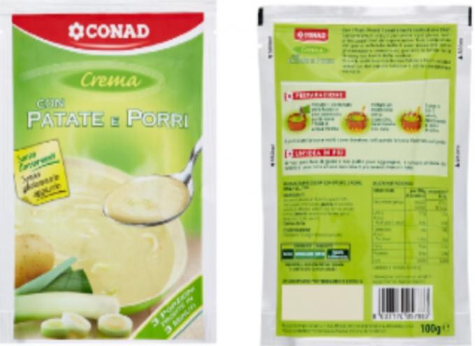 """Avviso importante per i celiaci: Conad ritira dal commercio """" Crema con patate e porri """" per presenza indesiderata di glutine"""