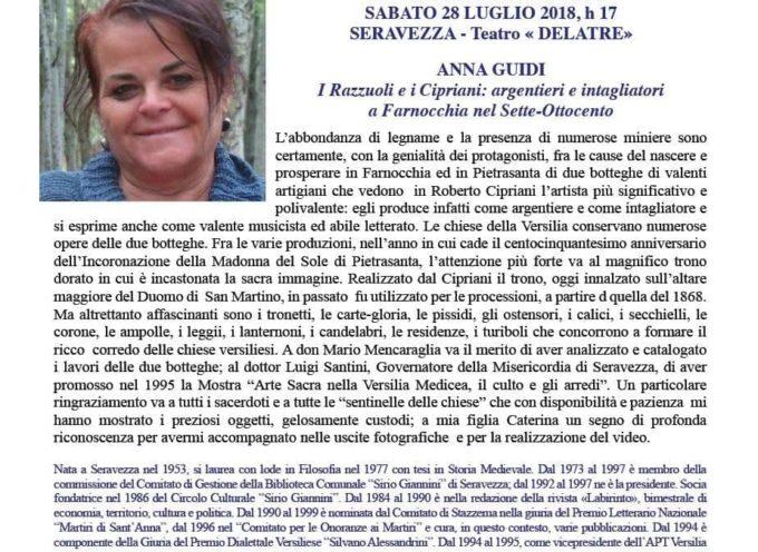 SERAVEZZA, CONFERENZA ALLE 17.00 AL TEATRINO DELATRE, ISTITUTO STORICO LUCCHESE SEZ. VERSILIA