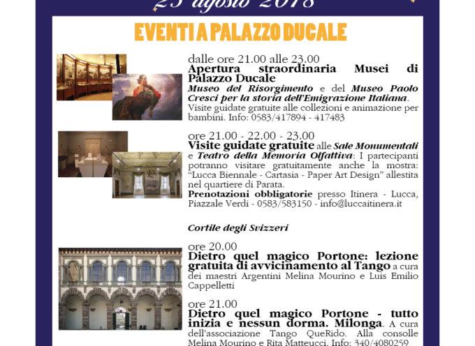 Notte Bianca Lucca 2018: A Palazzo Ducale visite guidate, mostre e eventi gratuiti