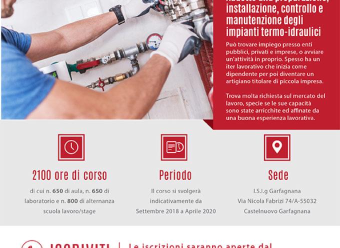 come installatore e manutentore di impianti termo-idraulici:al via a Castelnuovo Garfagnana UN CORSO FORMATIVO