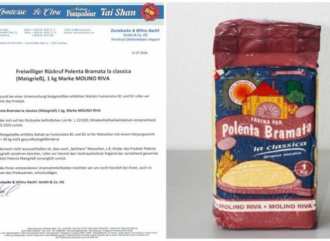Allerta dalla Germania per tossine: ritirata farina italiana per polenta. Lo segnala l'Ufficio federale della sicurezza alimentare tedesco.