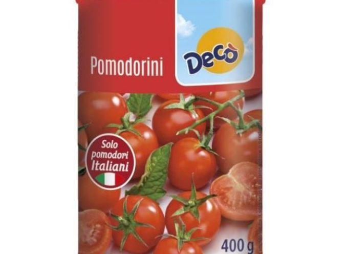 Fitofarmaco clormequat in eccesso nei pomodorini in scatola.