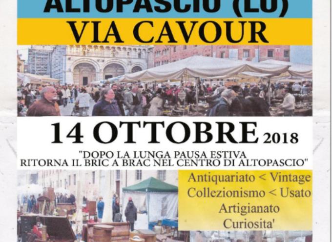 ALTOPASCIO – Torna il mercatino dell'artigianato e dell'antiquariato Bric a Brac.