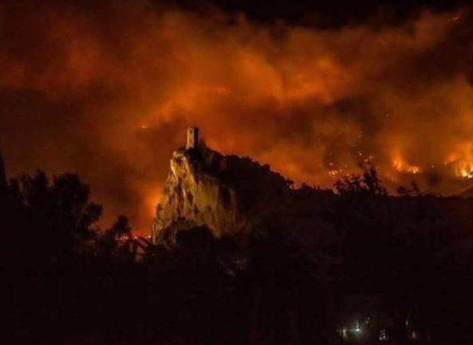 Operai forestali  della mediavalle del Serchio impegnati nell'intervento di salvaguardia dopo l'incendio