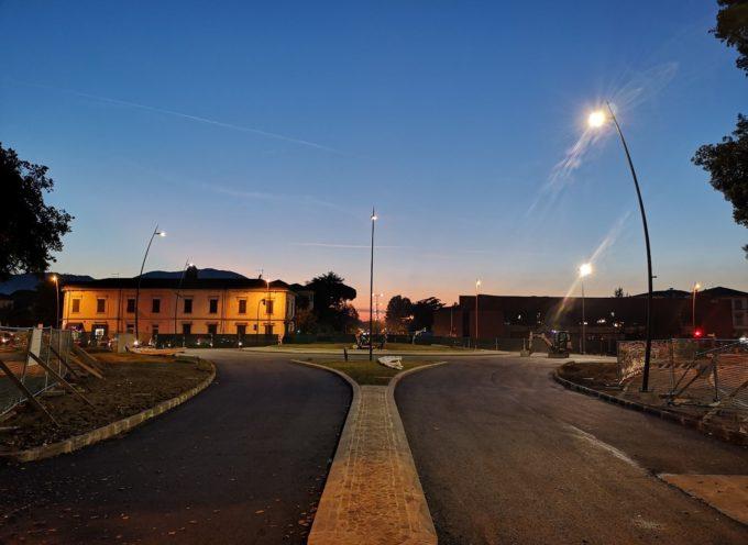 porta Sant'Anna la prova di accensione dei nuovi fari led dell'impianto che illuminerà il nodo stradale