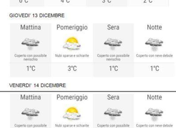 il Meteo per la Valle del Serchio, aggiornamento al  11 dicembre