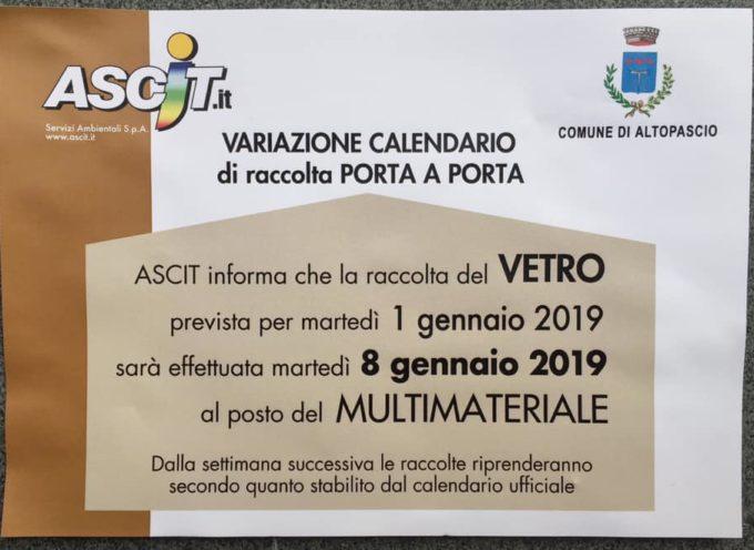 ALTOPASCIO – ascit informa raccolta del vetro dal 1 gennaio al 8 gennaio 2019
