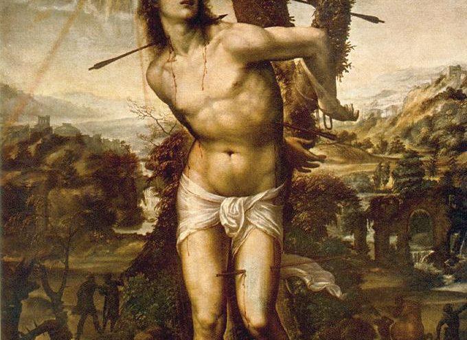 Il Santo del giorno, 20 Gennaio: S. Sebastiano, con il corpo trafitto da cento frecce
