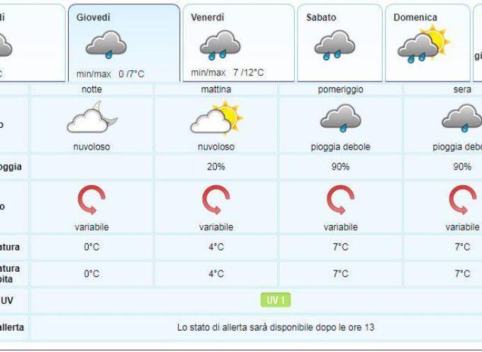 IL Meteo per la Valle del Serchio del Lamma Toscana.. aggiornamento al 30 gennaio