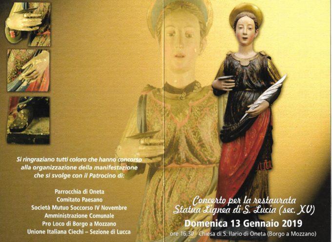 Un concerto per il restauro della statua lignea di S. Lucia ad Oneta