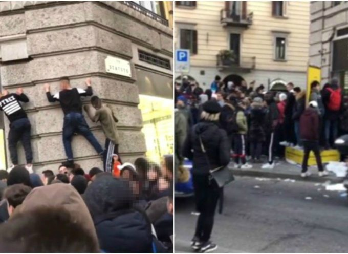 Milano, dov'e' la crisi? coda e ressa per le Nike Air Max A 160 EURO