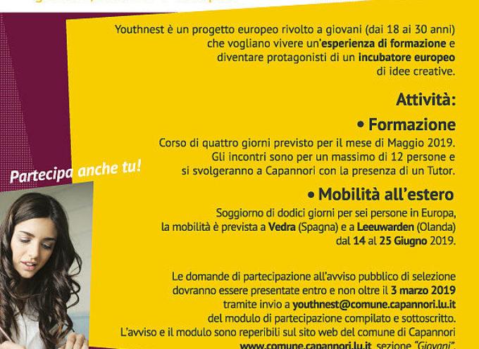 CAPANNORI – Aperto fino al 3 marzo l'avviso pubblico per partecipare al progetto europeo 'Youthnest'
