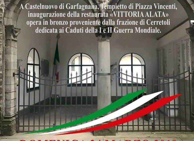 CASTELNUOVO DI GARFAGNANA – Al Tempietto di Piazza Vincenti si terrà l'inaugurazione della restaurata «VITTORIA ALATA».