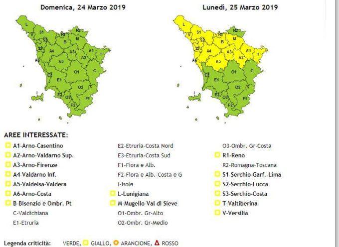 Avviso di Vigilanza Codice Giallo in Valle del Serchio per vento emesso da Regione Toscana