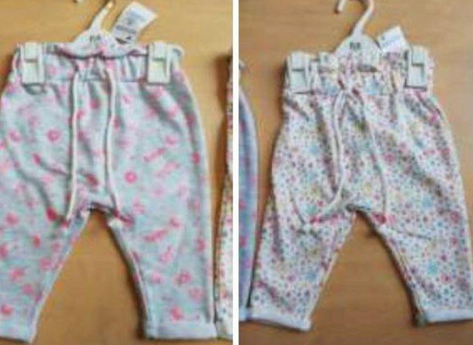 """""""Gli abiti per bambini con lacci e cordoni sono pericolosi"""", AUCHAN e SIMPLY ritirano dagli scaffali PANTALONE NTA a marca In Extenso."""