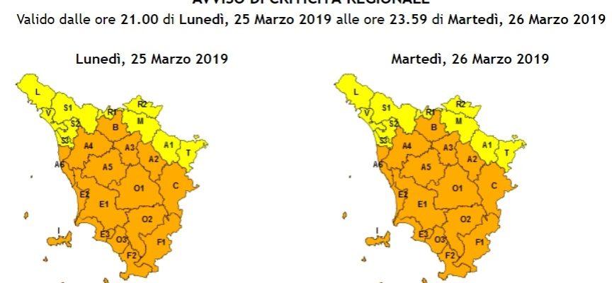 allerta meteo arancio  nella Piana di Lucca per vento forte  Dalle 21 di oggi alle 23.59 di domani, martedì 26 marzo