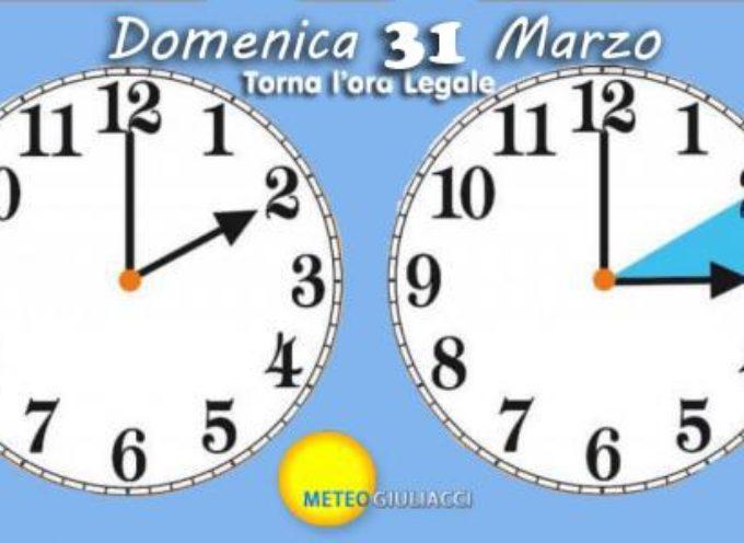 Domenica 31 Marzo torna l'ora legale